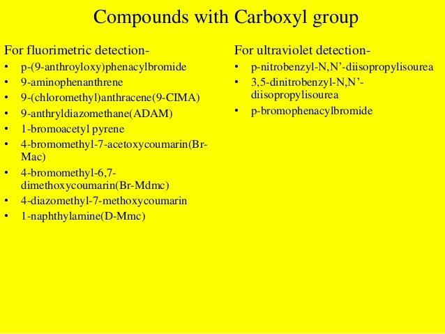 Compounds with Carbonyl groupFor fluorimetric detection-• Dansyl hydrazine• 9-(hydroxymethyl)anthracene(HMA)• 4'-hydrazino...
