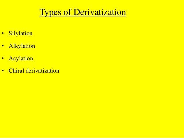 Types of Derivatization• Silylation• Alkylation• Acylation• Chiral derivatization