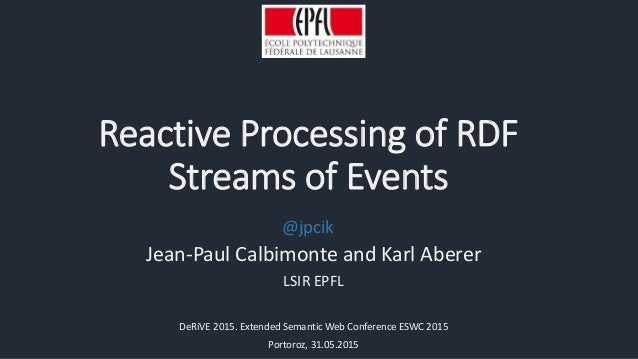 Reactive Processing of RDF Streams of Events Jean-Paul Calbimonte and Karl Aberer LSIR EPFL DeRiVE 2015. Extended Semantic...