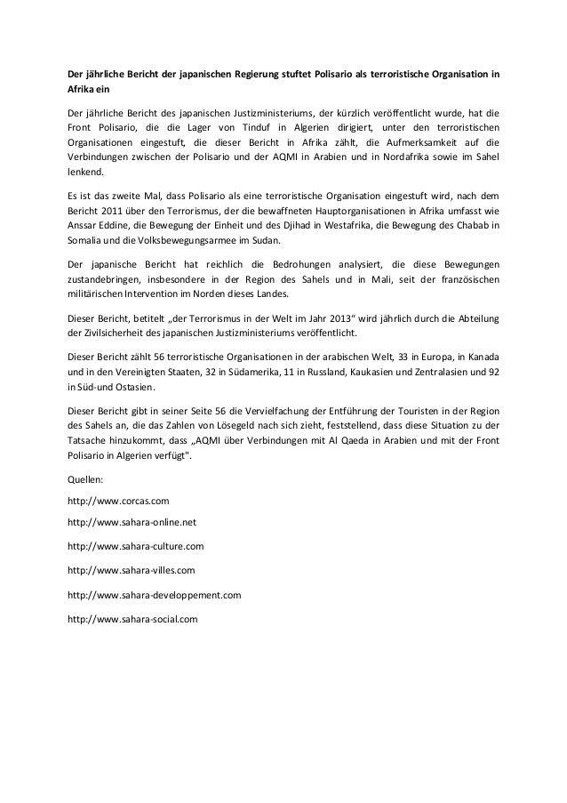 Der jährliche Bericht der japanischen Regierung stuftet Polisario als terroristische Organisation in Afrika ein Der jährli...