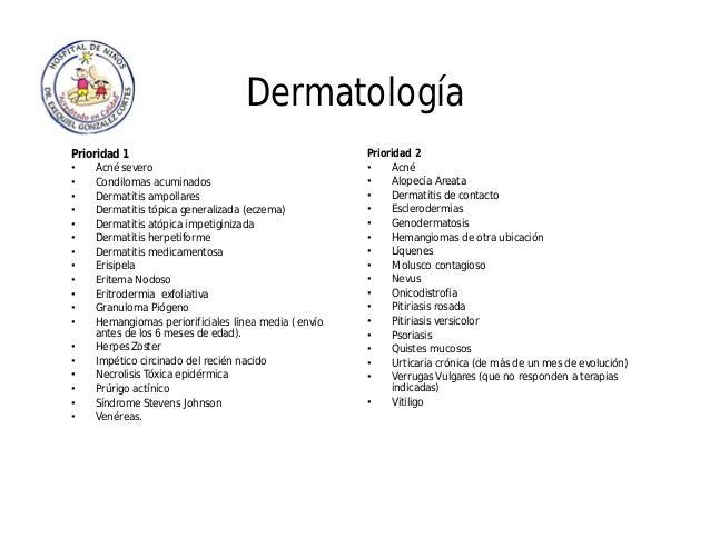 Dermatología Prioridad 1 • Acné severo • Condilomas acuminados • Dermatitis ampollares • Dermatitis tópica generalizada (e...