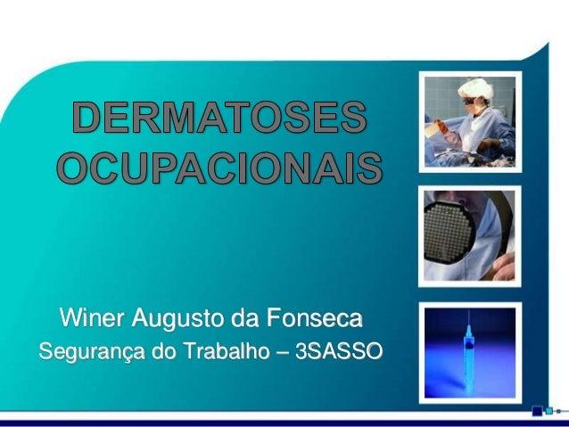 Winer Augusto da Fonseca Segurança do Trabalho – 3SASSO