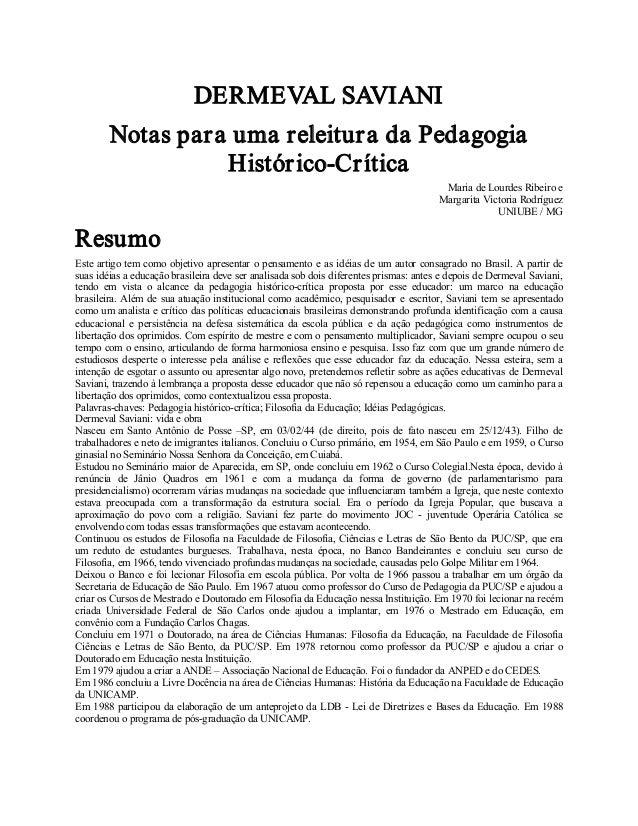 DERMEVALSAVIANI NotasparaumareleituradaPedagogia HistóricoCrítica Mariade LourdesRibeiroe MargaritaVictoria...