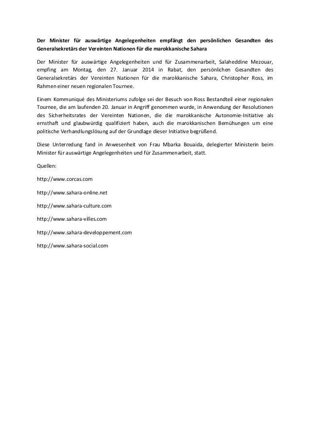 Der Minister für auswärtige Angelegenheiten empfängt den persönlichen Gesandten des Generalsekretärs der Vereinten Natione...