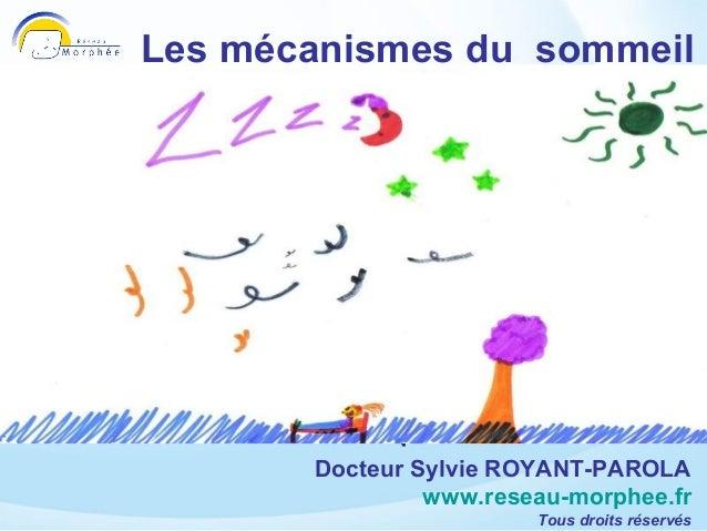 Les mécanismes du sommeil  Sylvie Royant-Parola     Réseau Morphée    www.reseau-morphee.fr          Docteur Sylvie ROYANT...