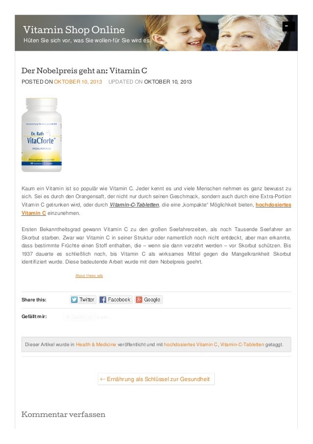 Share this: Gefällt mir: POSTED ON OKTOBER 10, 2013 UPDATED ON OKTOBER 10, 2013 Kaum ein Vitamin ist so populär wie Vitami...