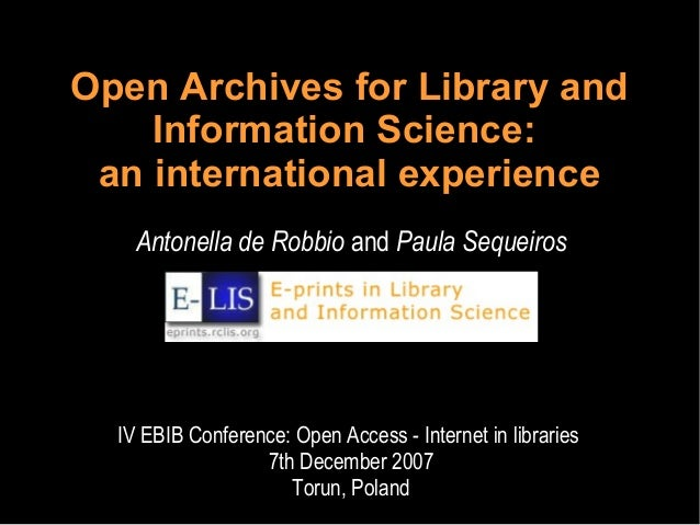 Open Archives for Library and Information Science: