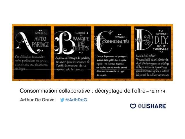 Consommation collaborative : décryptage de l'offre – 12.11.14  Arthur De Grave @ArthDeG