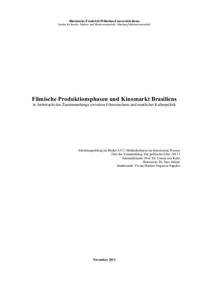 Rheinische Friedrich-Wilhelms-Universität Bonn Institut für Sprach-, Medien- und Musikwissenschaft | Abteilung Medienwis...