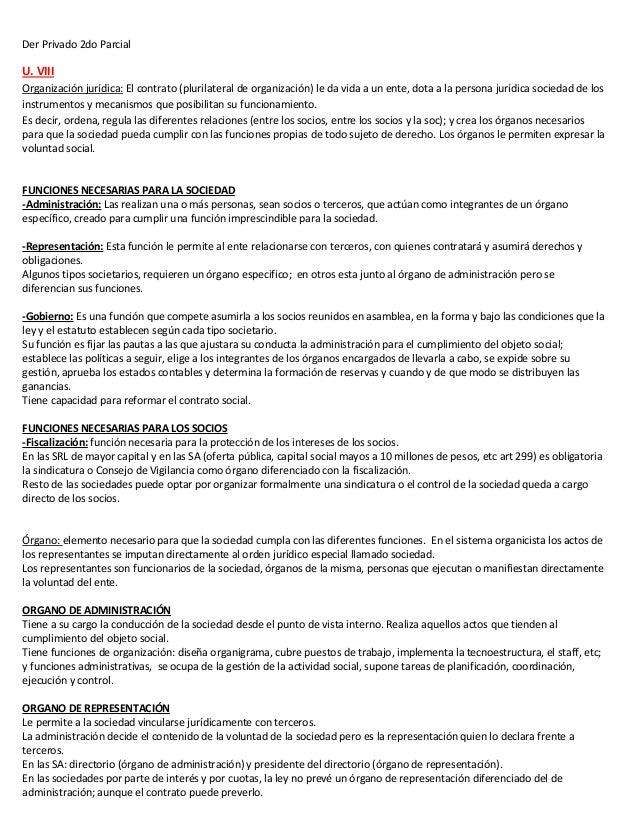Der Privado 2do ParcialU. VIIIOrganización jurídica: El contrato (plurilateral de organización) le da vida a un ente, dota...