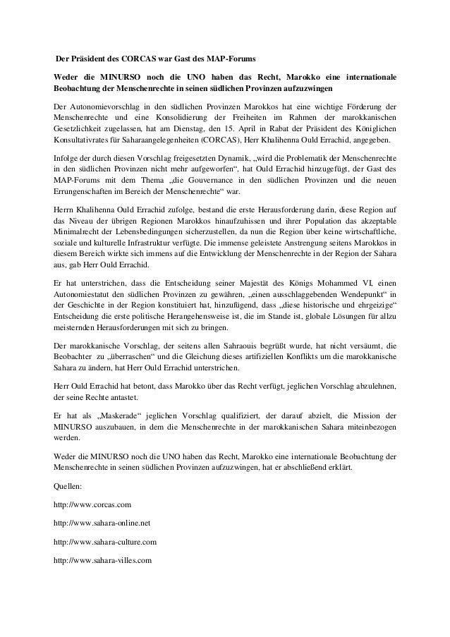 Der Präsident des CORCAS war Gast des MAP-Forums Weder die MINURSO noch die UNO haben das Recht, Marokko eine internationa...