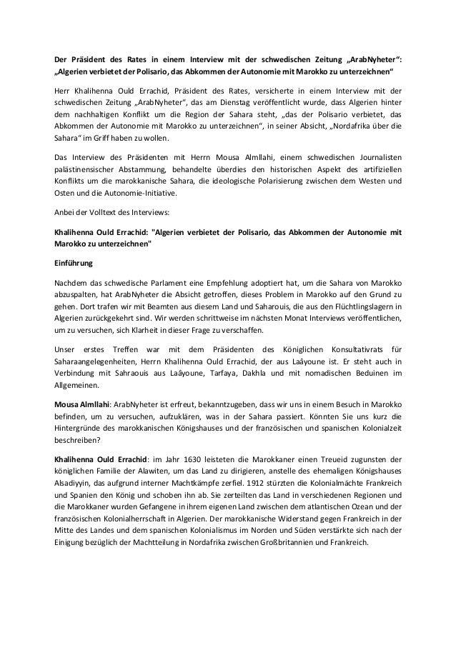 """Der Präsident des Rates in einem Interview mit der schwedischen Zeitung """"ArabNyheter"""": """"Algerien verbietet der Polisario, ..."""