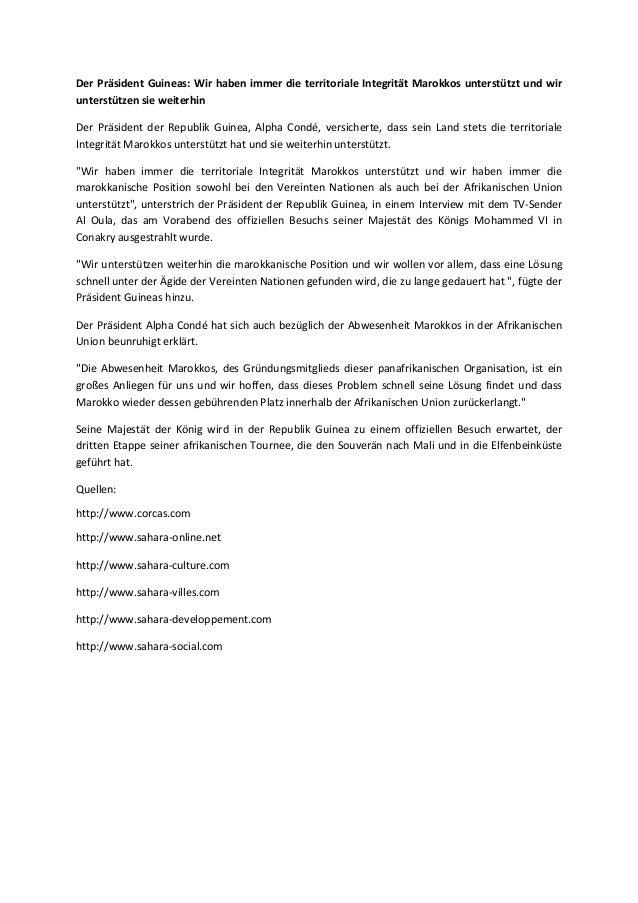 Der Präsident Guineas: Wir haben immer die territoriale Integrität Marokkos unterstützt und wir unterstützen sie weiterhin...