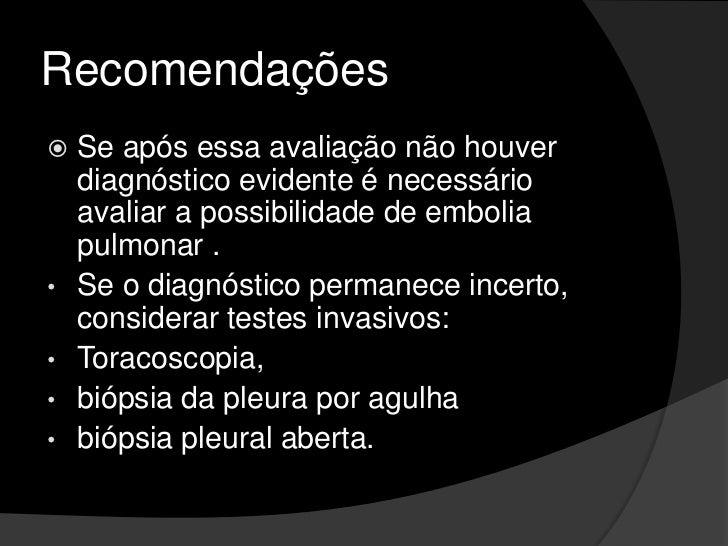 Avaliação do Derrame Exsudativo<br />A predominância de células mononucleares (> 50% de linfócitos) indica um processo crô...