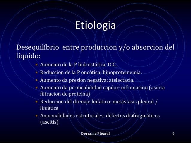 Etiologia Desequilíbrio entre produccion y/o absorcion del líquido: • Aumento de la P hidrostática: ICC. • Reduccion de la...