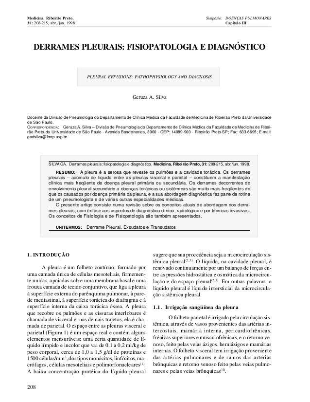 DERRAMES PLEURAIS: FISIOPATOLOGIA E DIAGNÓSTICO PLEURAL EFFUSIONS: PATHOPHYSIOLOGY AND DIAGNOSIS Geruza A. Silva Docente d...