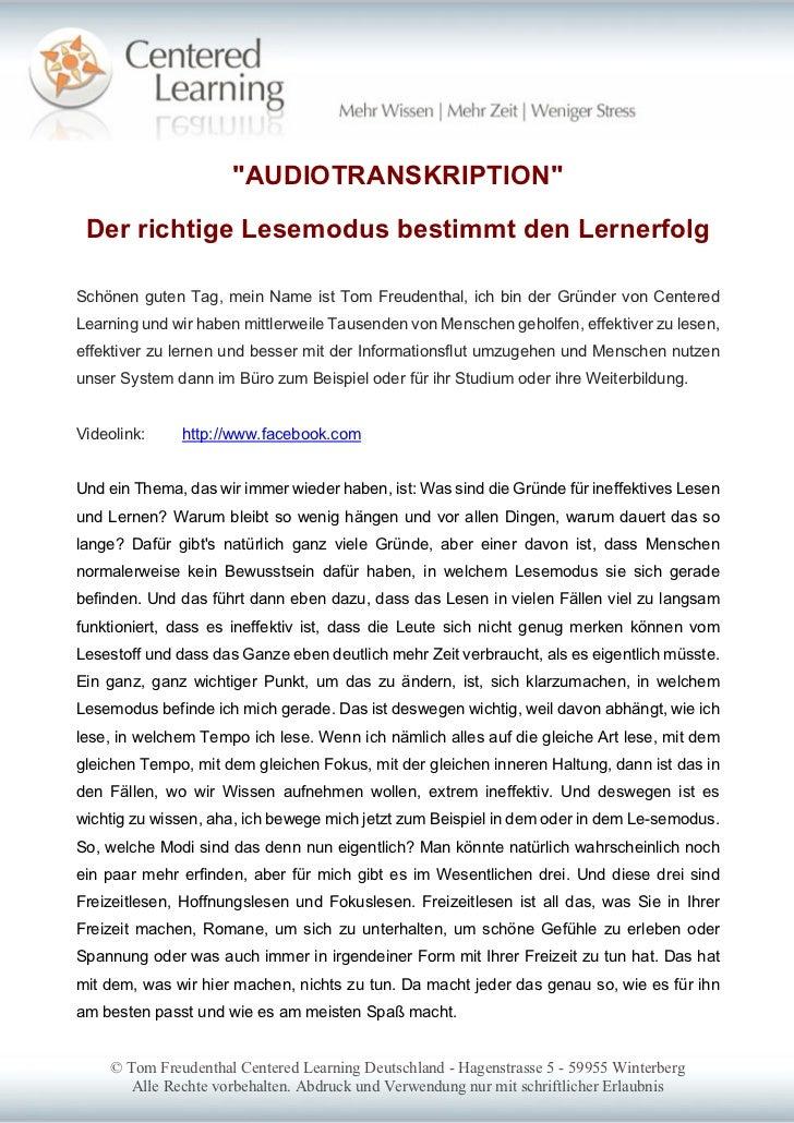 """""""AUDIOTRANSKRIPTION"""" Der richtige Lesemodus bestimmt den LernerfolgSchönen guten Tag, mein Name ist Tom Freudenthal, ich b..."""