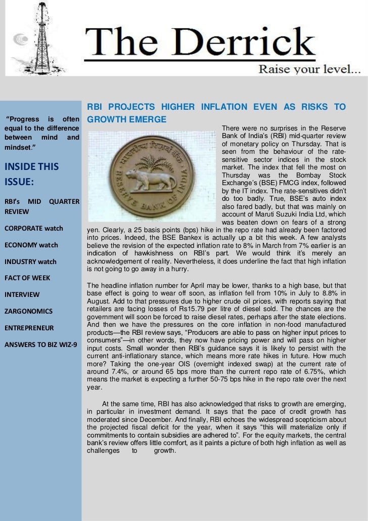 """RBI PROJECTS HIGHER INFLATION EVEN AS RISKS TO""""Progress    is often     GROWTH EMERGEequal to the difference              ..."""