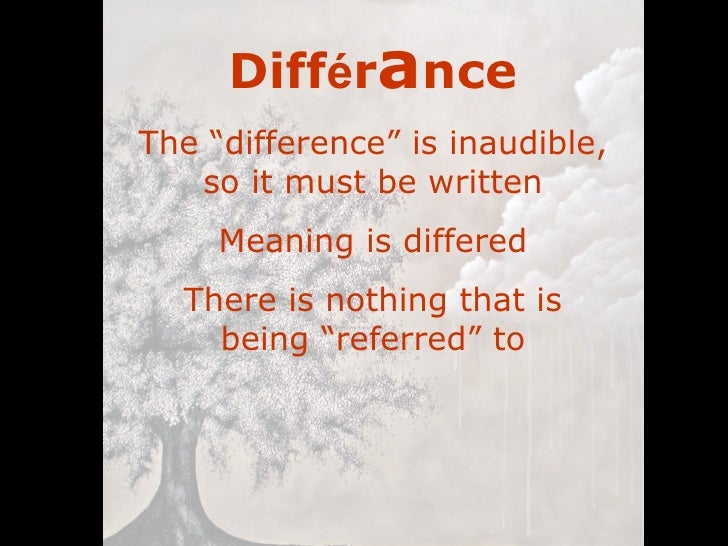 derrida differance essay summary Derrida - writing and difference (essays 4 the unity prior to these differences derrida now gives a very sketchy summary of the last part.