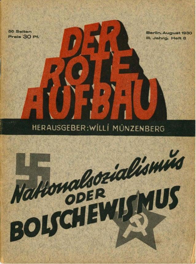 Der Rote Aufbau, Aug. 1930, 3. Jahrgang, Heft 8