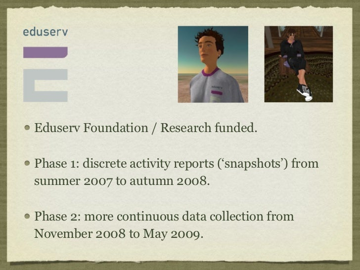 Eduserv Foundation / Research funded.Phase 1: discrete activity reports ('snapshots') fromsummer 2007 to autumn 2008.Phase...