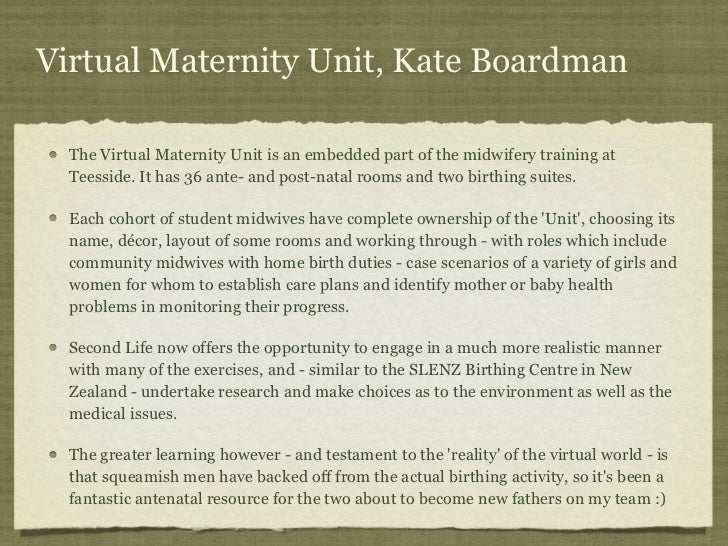 Virtual Maternity Unit, Kate Boardman  The Virtual Maternity Unit is an embedded part of the midwifery training at  Teessi...