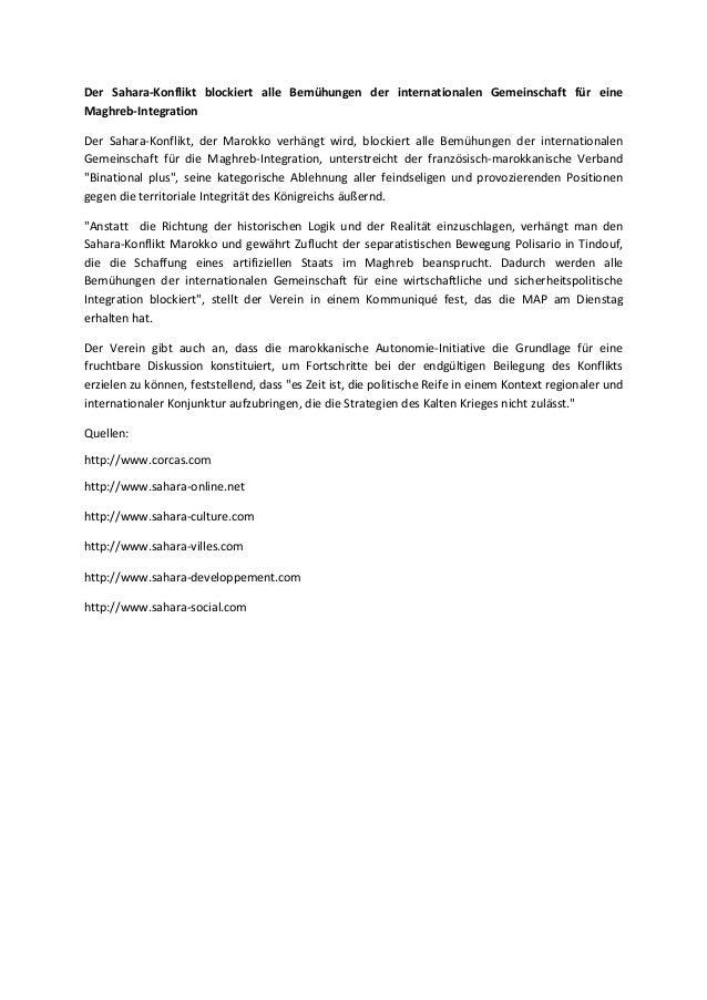 Der Sahara-Konflikt blockiert alle Bemühungen der internationalen Gemeinschaft für eine Maghreb-Integration Der Sahara-Kon...