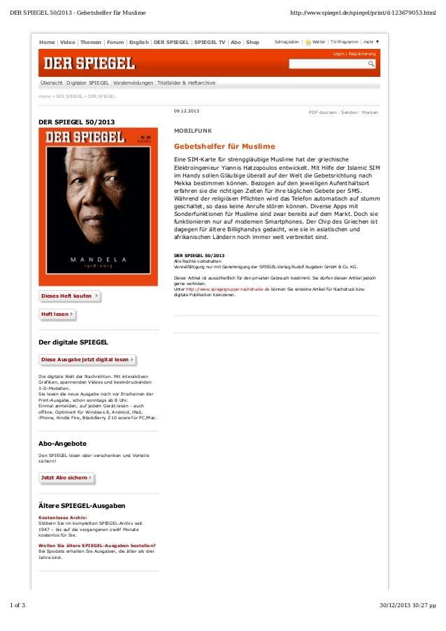 DER SPIEGEL 50/2013 - Gebetshelfer für Muslime  Home  Video  Themen  Forum  English  http://www.spiegel.de/spiegel/print/d...