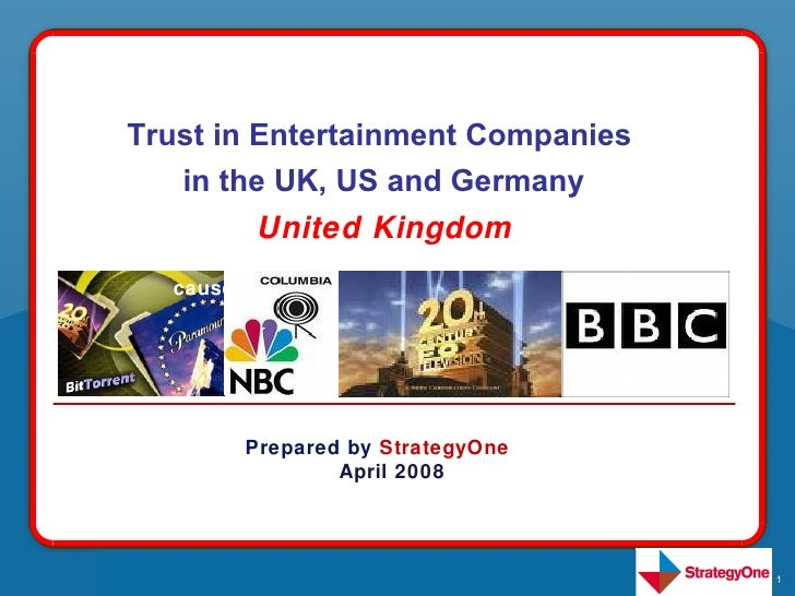 Trust in Entertainment Companies    The the purpose Consumer Study was     in good UK, US and Germany    undertaken in ord...