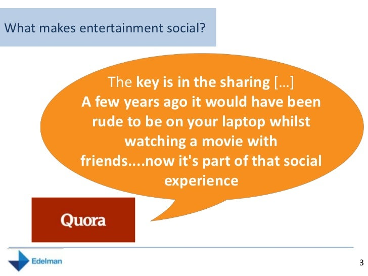 Value, Trust and Engagement in an era of Social Entertainment  Slide 3