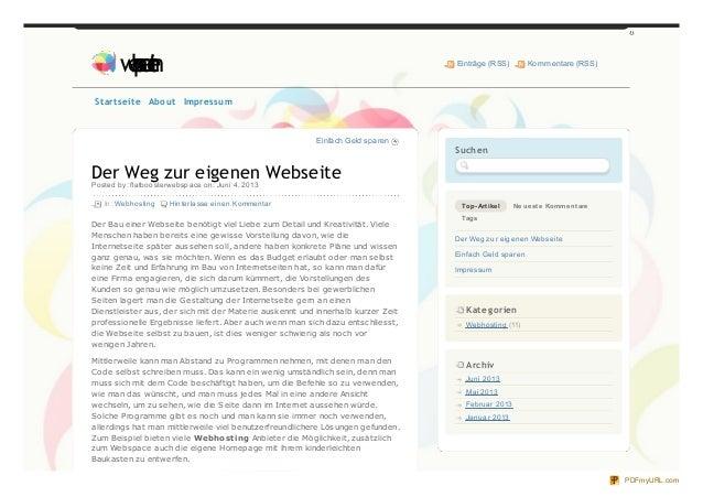 Einfach Geld sparenDer Weg zur eigenen WebseitePosted by: flatboosterwebspace on: Juni 4, 2013In: Webhosting Hinterlasse e...