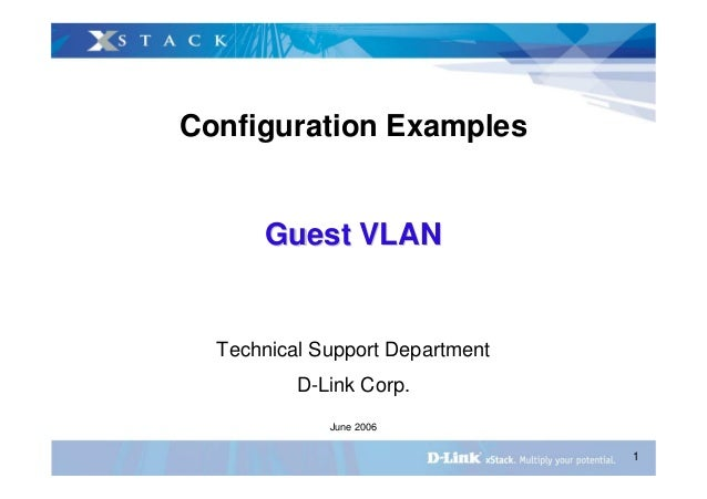 1 Configuration Examples Guest VLANGuest VLAN Technical Support Department D-Link Corp. June 2006