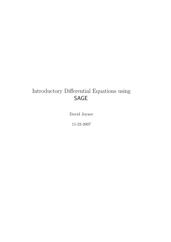 Introductory Differential Equations using                SAGE               David Joyner                11-22-2007