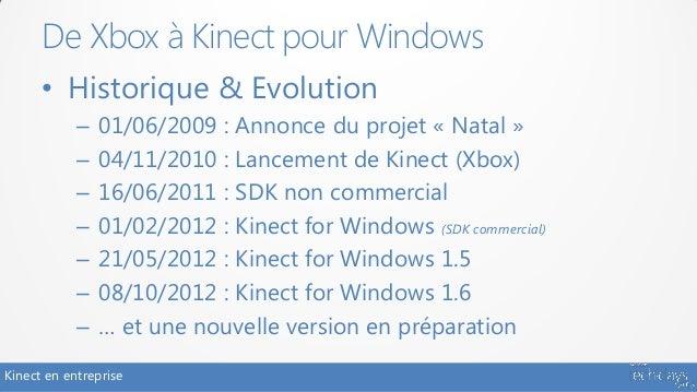 De Xbox à Kinect pour Windows      • Historique & Evolution            –   01/06/2009 : Annonce du projet « Natal »       ...