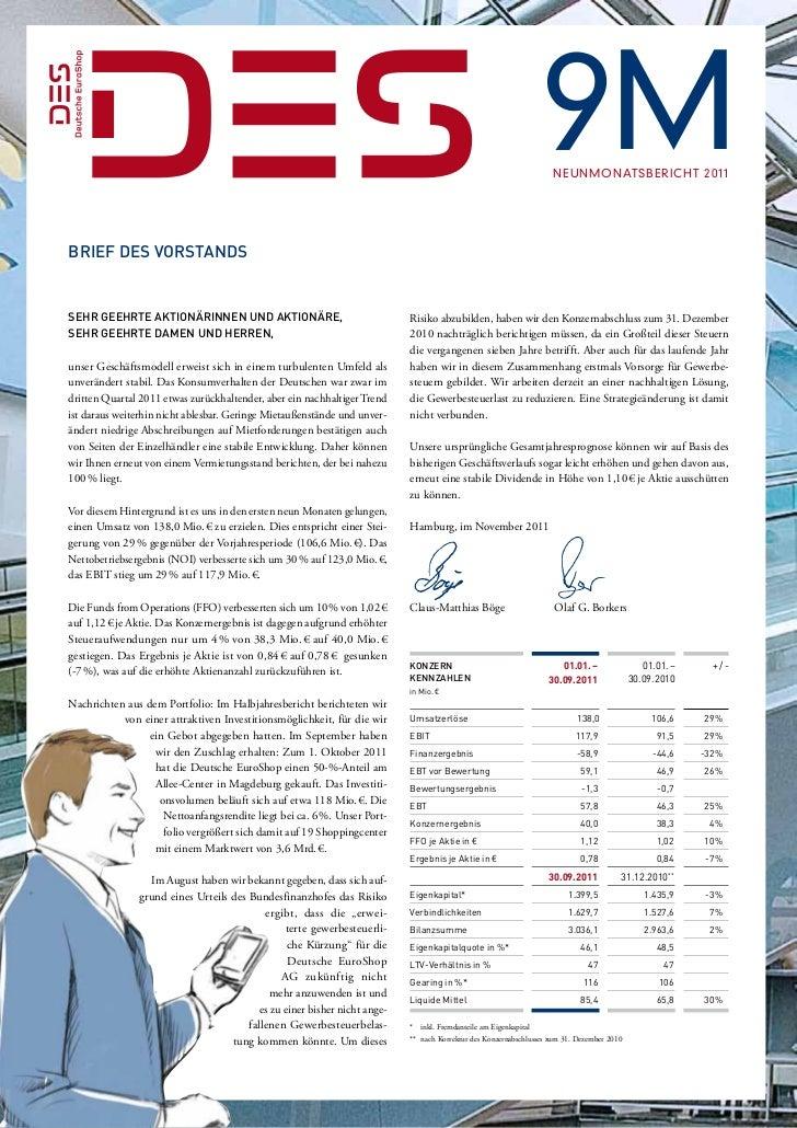 9M Neunmonatsbericht 2011Brief des VorstandsSehr geehrte Aktionärinnen und Aktionäre,                                  ...