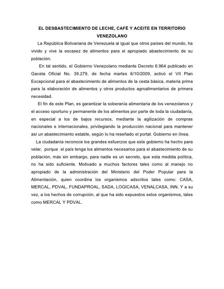 EL DESBASTECIMIENTO DE LECHE, CAFÉ Y ACEITE EN TERRITORIO                                 VENEZOLANO   La República Boliva...
