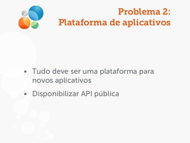 Problema 2: Plataforma de aplicativos • Tudo deve ser uma plataforma para novos aplicativos • Disponibilizar API pública