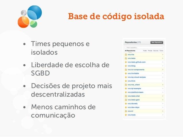 Base de código isolada • Times pequenos e isolados • Liberdade de escolha de SGBD • Decisões de projeto mais descentraliza...