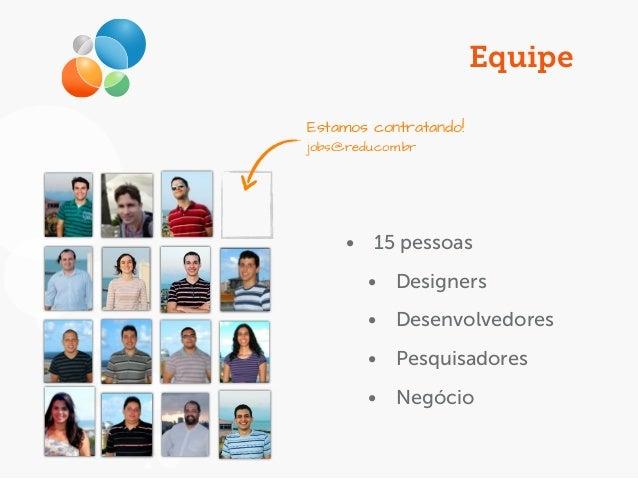 Equipe • 15 pessoas • Designers • Desenvolvedores • Pesquisadores • Negócio Estamos contratando! jobs@redu.com.br