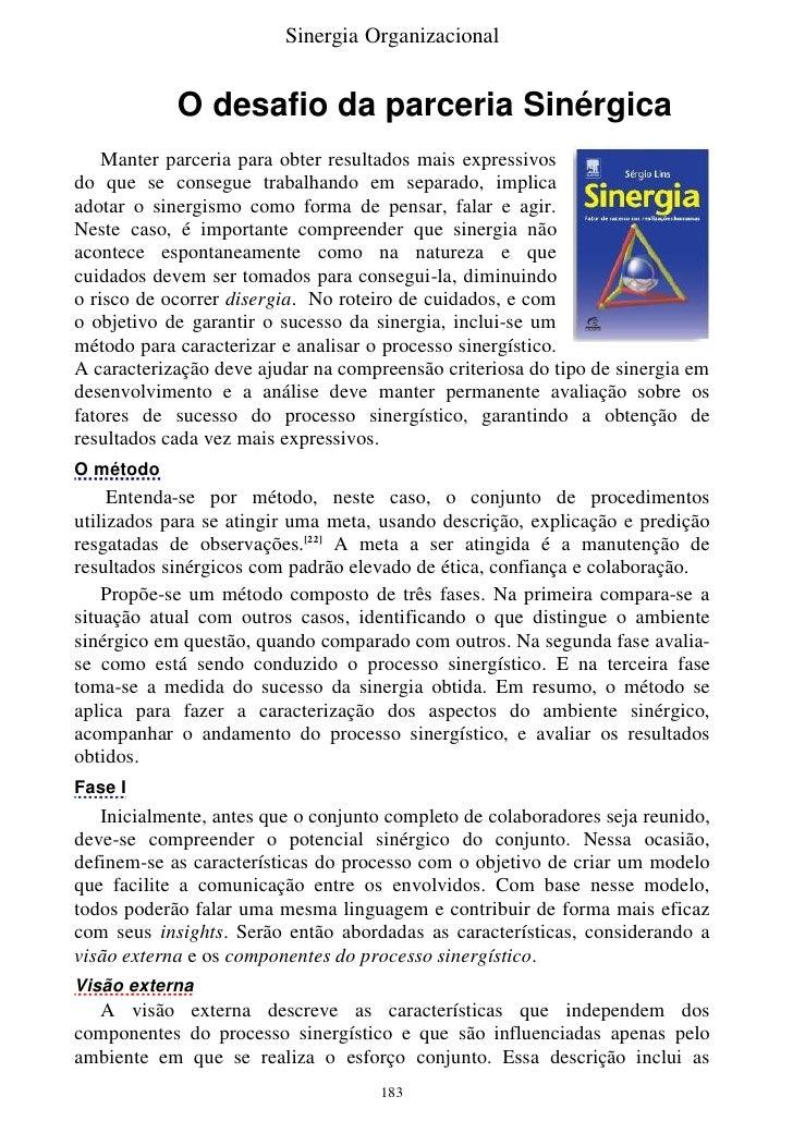 Sinergia Organizacional               O desafio da parceria Sinérgica                                                     ...