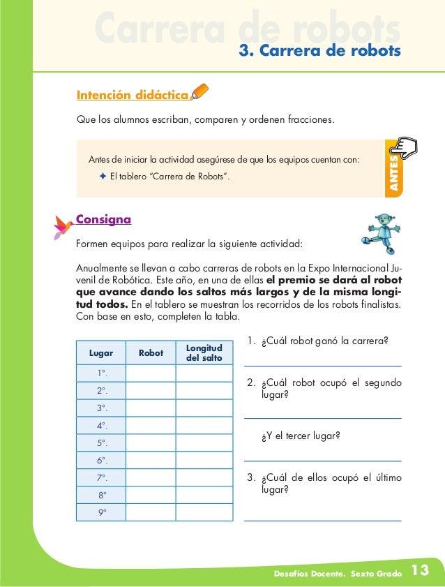 Desafios matematicos docente sexto grado for Carreras de grado