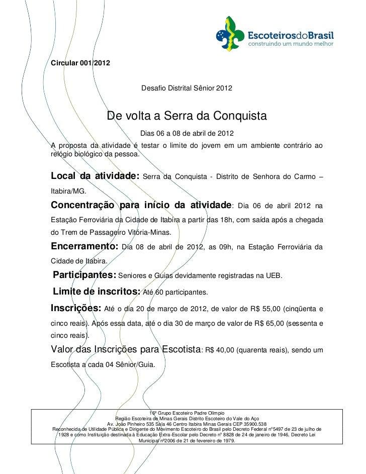 Circular 001/2012                                        Desafio Distrital Sênior 2012                        De volta a S...