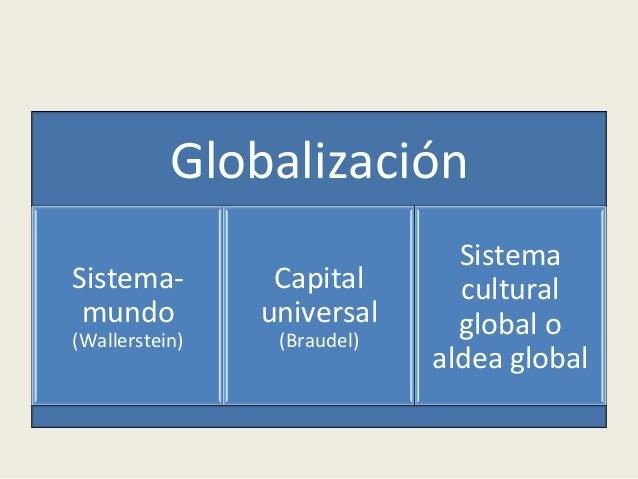 Globalización   Sistema-‐ mundo   (Wallerstein)   Capital   universal   (Braudel)   Sistema   cultural   ...