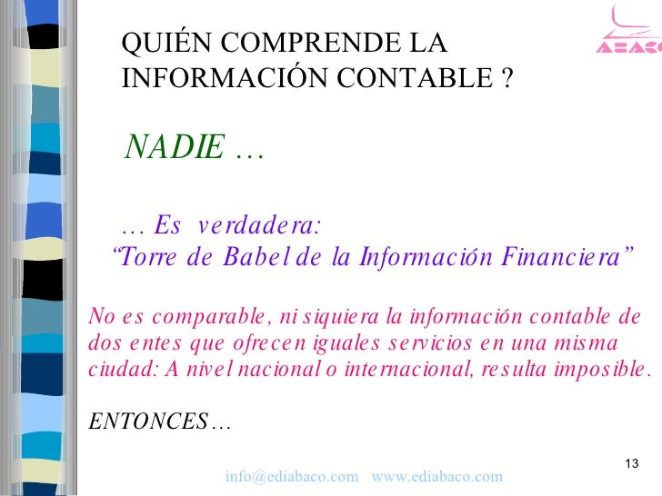 """QUIÉN COMPRENDE LA    INFORMACIÓN CONTABLE ?      NADIE …     … Es v e rdade ra:   """"Torre de Babe l de la Información Fina..."""
