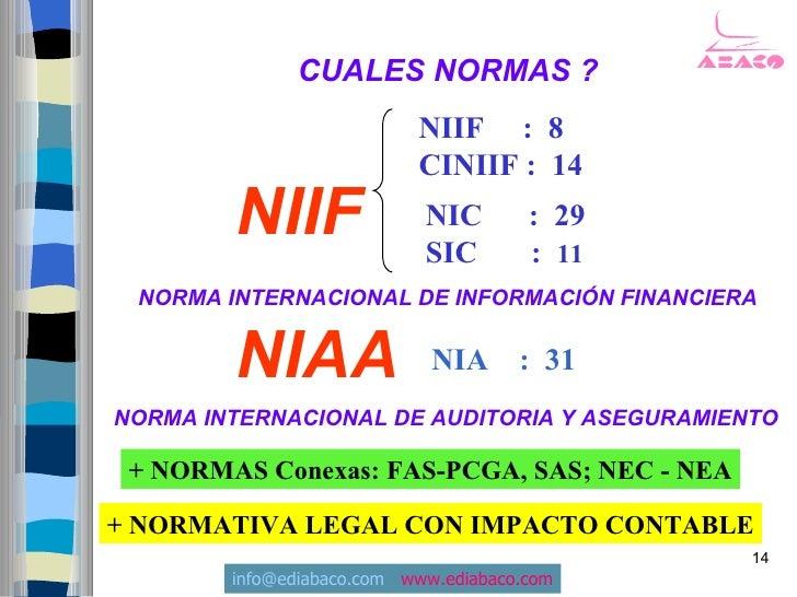 CUALES NORMAS ?                            NIIF : 8                            CINIIF : 14         NIIF                NIC...