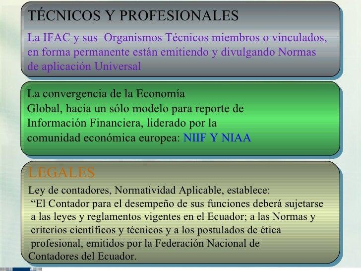 TÉCNICOS Y PROFESIONALES La IFAC y sus Organismos Técnicos miembros o vinculados, en forma permanente están emitiendo y di...