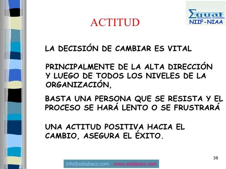 Normativa Contable               ACTITUD                     NIIF-NIAA    LA DECISIÓN DE CAMBIAR ES VITAL  PRINCIPALMENTE ...