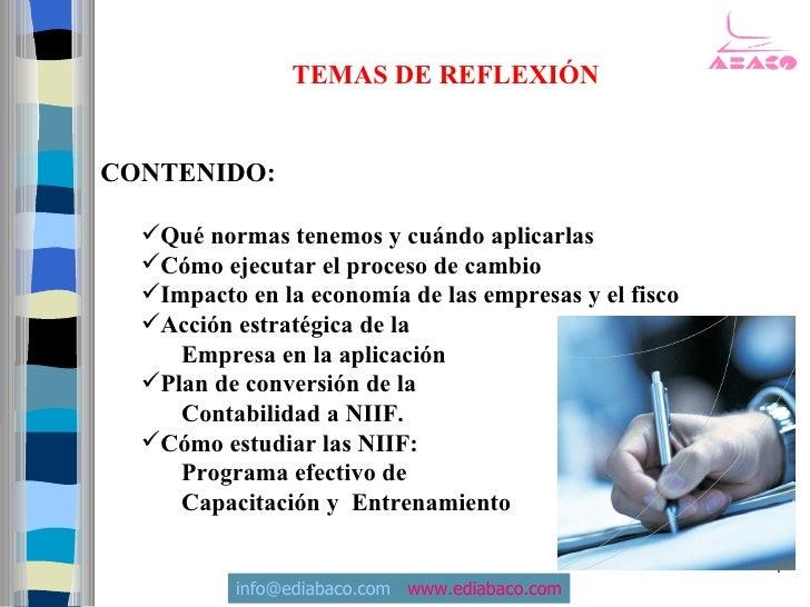 TEMAS DE REFLEXIÓN   CONTENIDO:    Qué normas tenemos y cuándo aplicarlas   Cómo ejecutar el proceso de cambio   Impact...