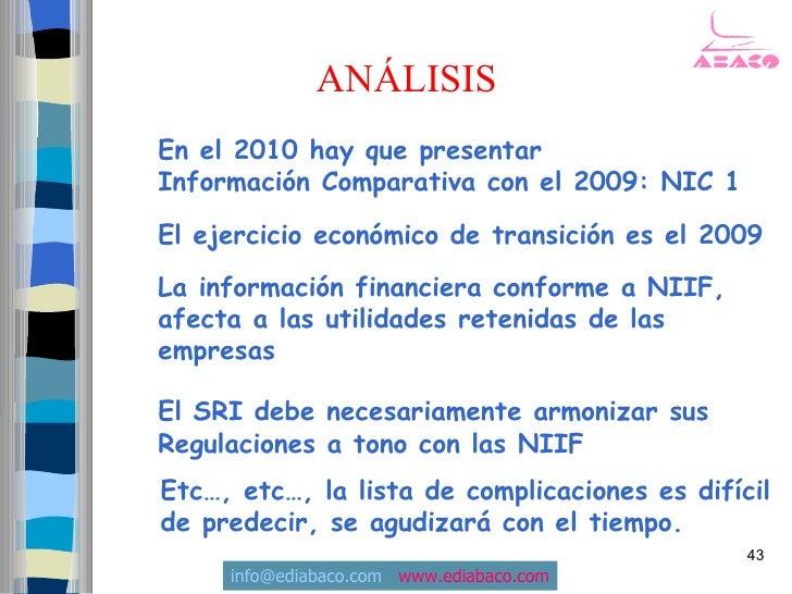 ANÁLISIS En el 2010 hay que presentar Información Comparativa con el 2009: NIC 1  El ejercicio económico de transición es ...