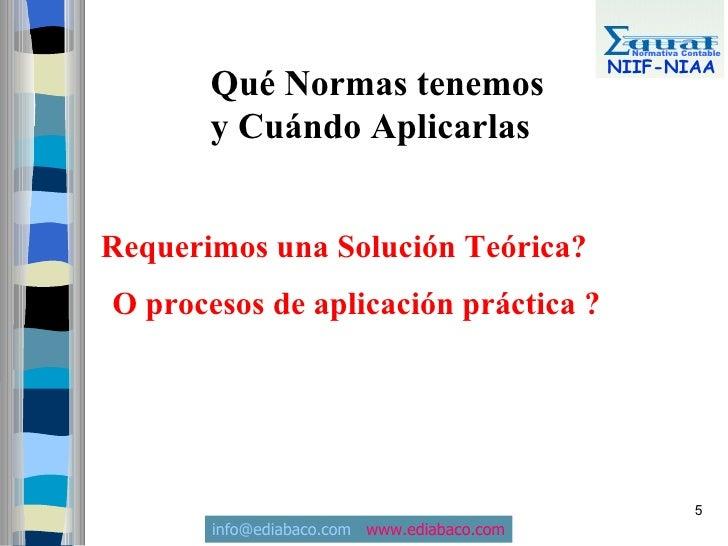 Normativa Contable                                              NIIF-NIAA        Qué Normas tenemos        y Cuándo Aplica...